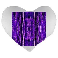 Bright Purple Rose Black Pattern Large 19  Premium Heart Shape Cushions