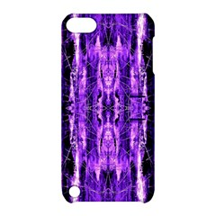 Bright Purple Rose Black Pattern Apple Ipod Touch 5 Hardshell Case With Stand by Costasonlineshop