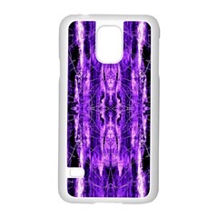 Bright Purple Rose Black Pattern Samsung Galaxy S5 Case (white) by Costasonlineshop