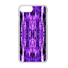 Bright Purple Rose Black Pattern Apple Iphone 7 Plus White Seamless Case by Costasonlineshop