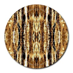Beige Brown Back Wood Design Round Mousepads
