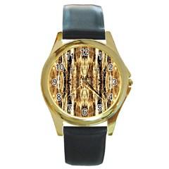 Beige Brown Back Wood Design Round Gold Metal Watch