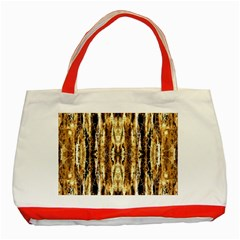 Beige Brown Back Wood Design Classic Tote Bag (red)
