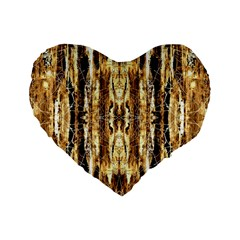 Beige Brown Back Wood Design Standard 16  Premium Flano Heart Shape Cushions