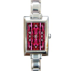 Pink Burgundy Traditional Pattern Rectangle Italian Charm Watch