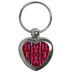 Pink Burgundy Traditional Pattern Key Chains (heart)