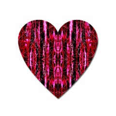 Pink Burgundy Traditional Pattern Heart Magnet by Costasonlineshop