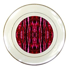 Pink Burgundy Traditional Pattern Porcelain Plates by Costasonlineshop