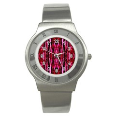 Pink Burgundy Traditional Pattern Stainless Steel Watch