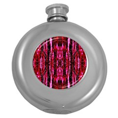 Pink Burgundy Traditional Pattern Round Hip Flask (5 Oz)