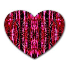 Pink Burgundy Traditional Pattern Heart Mousepads by Costasonlineshop
