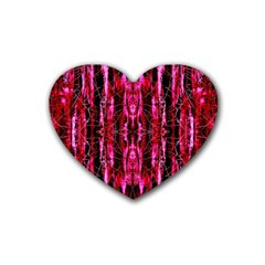 Pink Burgundy Traditional Pattern Rubber Coaster (heart)  by Costasonlineshop