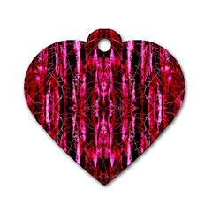 Pink Burgundy Traditional Pattern Dog Tag Heart (one Side)
