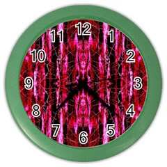 Pink Burgundy Traditional Pattern Color Wall Clocks