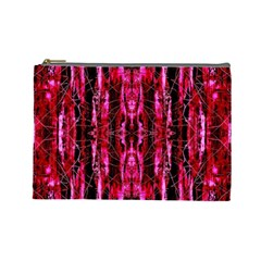 Pink Burgundy Traditional Pattern Cosmetic Bag (large)  by Costasonlineshop