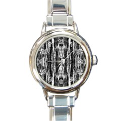 Black White Taditional Pattern  Round Italian Charm Watch