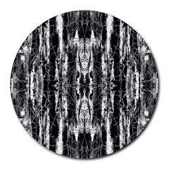 Black White Taditional Pattern  Round Mousepads by Costasonlineshop