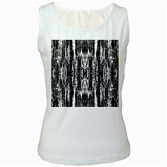 Black White Taditional Pattern  Women s White Tank Top