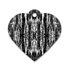 Black White Taditional Pattern  Dog Tag Heart (one Side) by Costasonlineshop