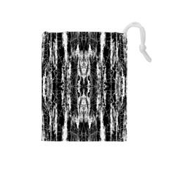 Black White Taditional Pattern  Drawstring Pouches (medium)