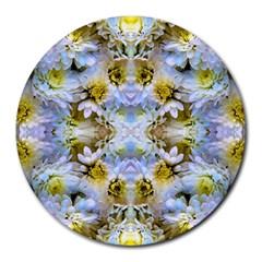 Blue Yellow Flower Girly Pattern, Round Mousepads