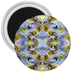 Blue Yellow Flower Girly Pattern, 3  Magnets