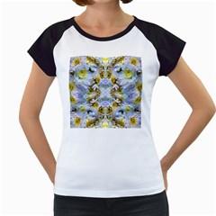Blue Yellow Flower Girly Pattern, Women s Cap Sleeve T by Costasonlineshop