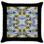 Blue Yellow Flower Girly Pattern, Throw Pillow Case (Black) Front