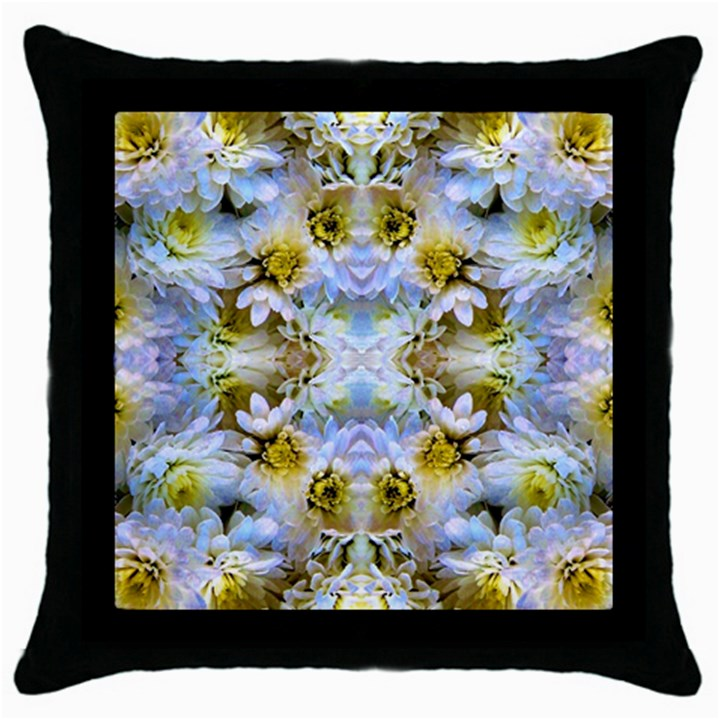Blue Yellow Flower Girly Pattern, Throw Pillow Case (Black)