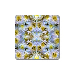 Blue Yellow Flower Girly Pattern, Square Magnet