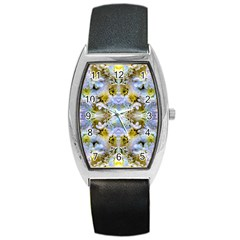 Blue Yellow Flower Girly Pattern, Barrel Style Metal Watch by Costasonlineshop