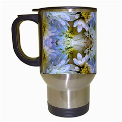 Blue Yellow Flower Girly Pattern, Travel Mugs (white)