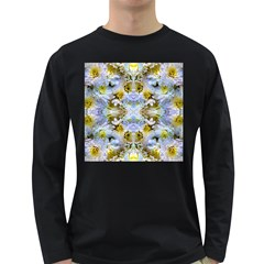 Blue Yellow Flower Girly Pattern, Long Sleeve Dark T-Shirts by Costasonlineshop