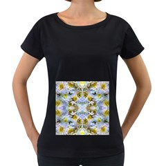 Blue Yellow Flower Girly Pattern, Women s Loose Fit T Shirt (black) by Costasonlineshop