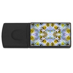 Blue Yellow Flower Girly Pattern, Usb Flash Drive Rectangular (4 Gb)  by Costasonlineshop