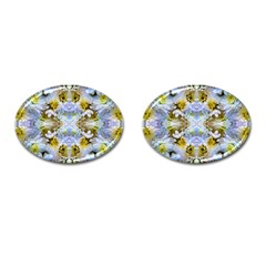 Blue Yellow Flower Girly Pattern, Cufflinks (oval)