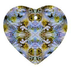 Blue Yellow Flower Girly Pattern, Heart Ornament (2 Sides) by Costasonlineshop