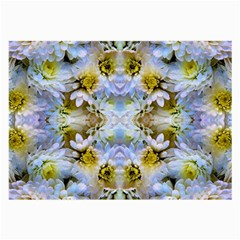 Blue Yellow Flower Girly Pattern, Large Glasses Cloth (2 Side) by Costasonlineshop