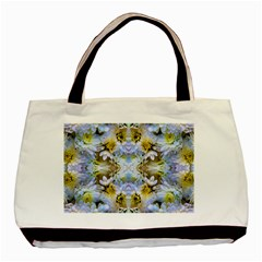 Blue Yellow Flower Girly Pattern, Basic Tote Bag (two Sides) by Costasonlineshop