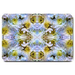 Blue Yellow Flower Girly Pattern, Large Doormat