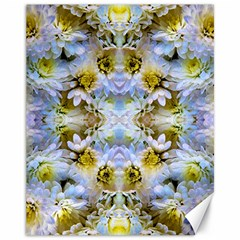 Blue Yellow Flower Girly Pattern, Canvas 11  X 14