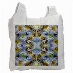 Blue Yellow Flower Girly Pattern, Recycle Bag (one Side) by Costasonlineshop
