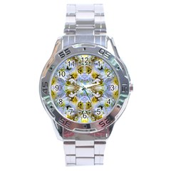 Blue Yellow Flower Girly Pattern, Stainless Steel Analogue Watch by Costasonlineshop