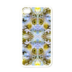 Blue Yellow Flower Girly Pattern, Apple Iphone 4 Case (white)