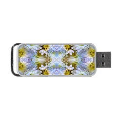 Blue Yellow Flower Girly Pattern, Portable Usb Flash (one Side)
