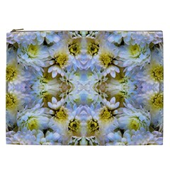 Blue Yellow Flower Girly Pattern, Cosmetic Bag (xxl)  by Costasonlineshop