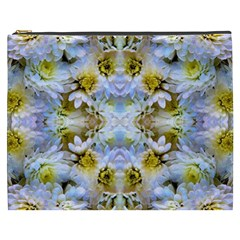 Blue Yellow Flower Girly Pattern, Cosmetic Bag (xxxl)  by Costasonlineshop