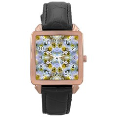 Blue Yellow Flower Girly Pattern, Rose Gold Leather Watch  by Costasonlineshop
