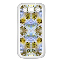Blue Yellow Flower Girly Pattern, Samsung Galaxy S3 Back Case (white) by Costasonlineshop