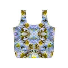 Blue Yellow Flower Girly Pattern, Full Print Recycle Bags (s)